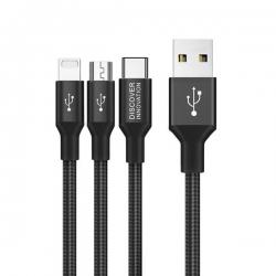 Data kabl Nillkin Swift 3u1 (iphone, micro USB, type C) 3A 1.5m