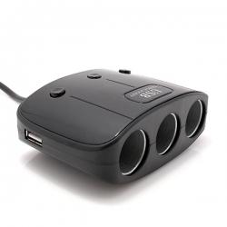 Produžni adapter za upaljač 512 sa 3 rupe +2x USB