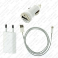 3u1 USB kabl + kućni + auto punjač za iPhone 5, iPhone 6, iPhone 7